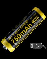 Nitecore - NL1475R MicroUSB - Batteria ricaricabile protetta Li-Ion 14500 3.6V 750mAh