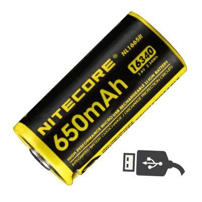 Nitecore - NL1665R MicroUSB - Batteria ricaricabile protetta Li-Ion CR123/16340 3.6V 650mAh