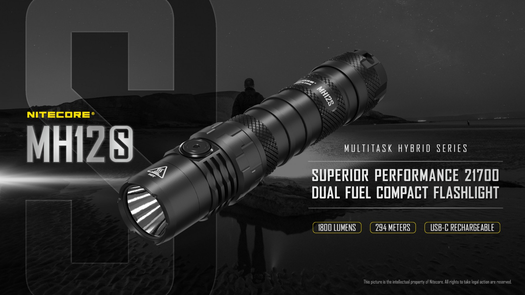 Nitecore - MH12S - Ricaricabile USB - 1800 lumens e 294 metri - Torcia Led