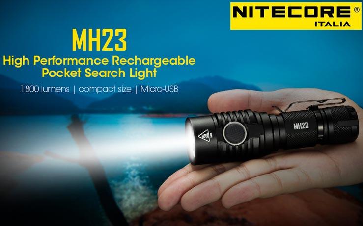 Nitecore - MH23 - Ricaricabile USB - 1800 lumens e 294 metri - Torcia Led