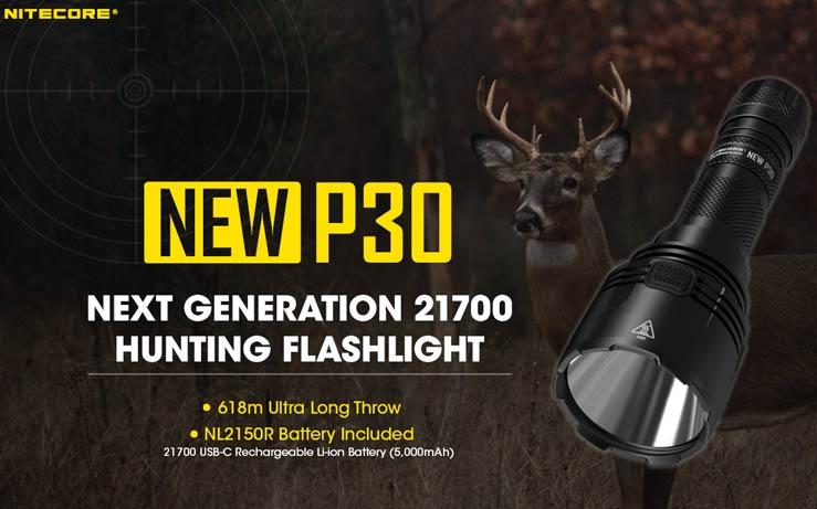 Nitecore - NEW P30 - 1000 lumens e 618 metri + Batteria Ricaricabile USB 21700 da 5000mAh - Torcia Led