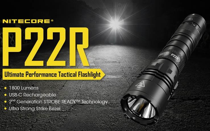 Nitecore - P22R Torcia Tattica - Cree XHP35 HD - 1800 Lumens e 262 metri - Ricaricabile USB - torcia