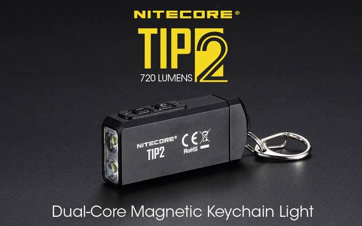 Nitecore - TIP2 - Portachiavi Ricaricabile USB - 720 lumens e 93 metri - Torcia Led