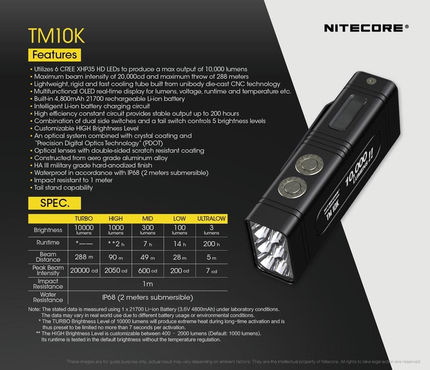 Nitecore - TM10K - Ricaricabile - 10000 lumens e 288 metri - Torcia Led